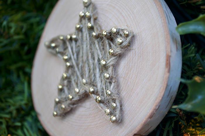 DIY Rustic String Art ornament using twine