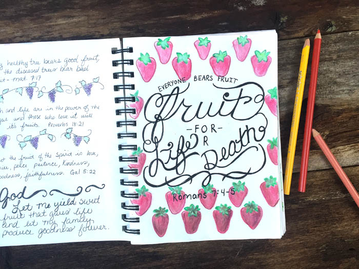 Illustrated faith in a journal