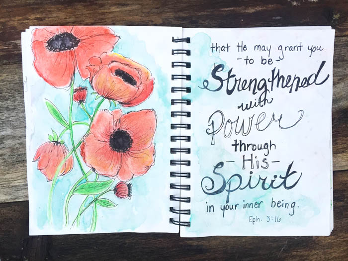 Illustrated faith in a notebook also known as bible journaling