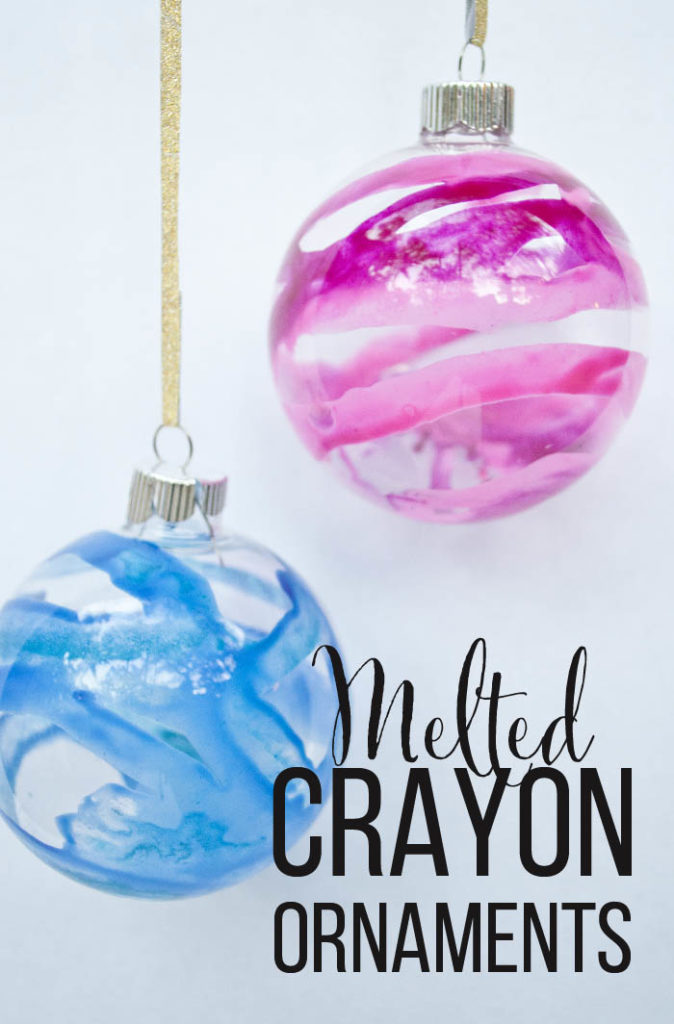 Melted Crayon Christmas Ornaments using glass bulbs