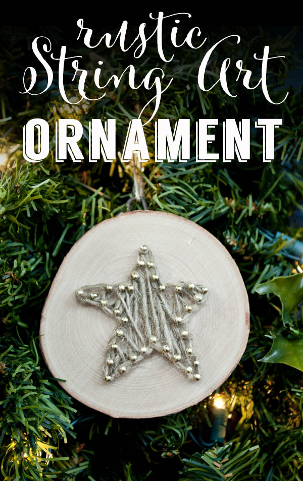 rustic string art ornament using twine