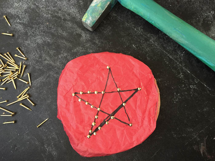 using string art to make christmas ornaments