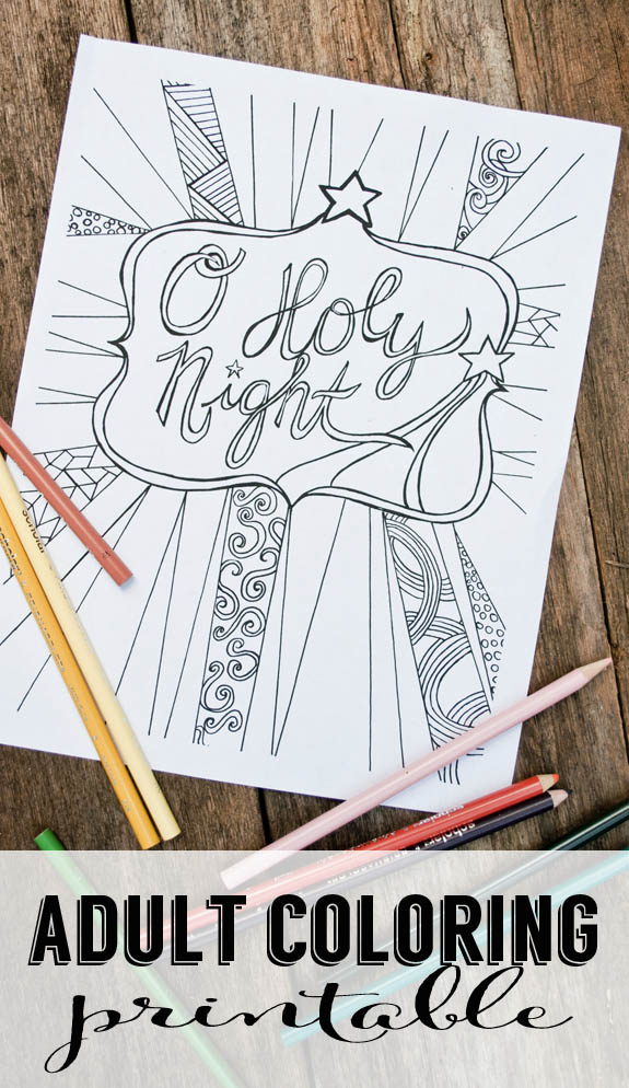 Free Christmas Adult Coloring Printable - O Holy Night