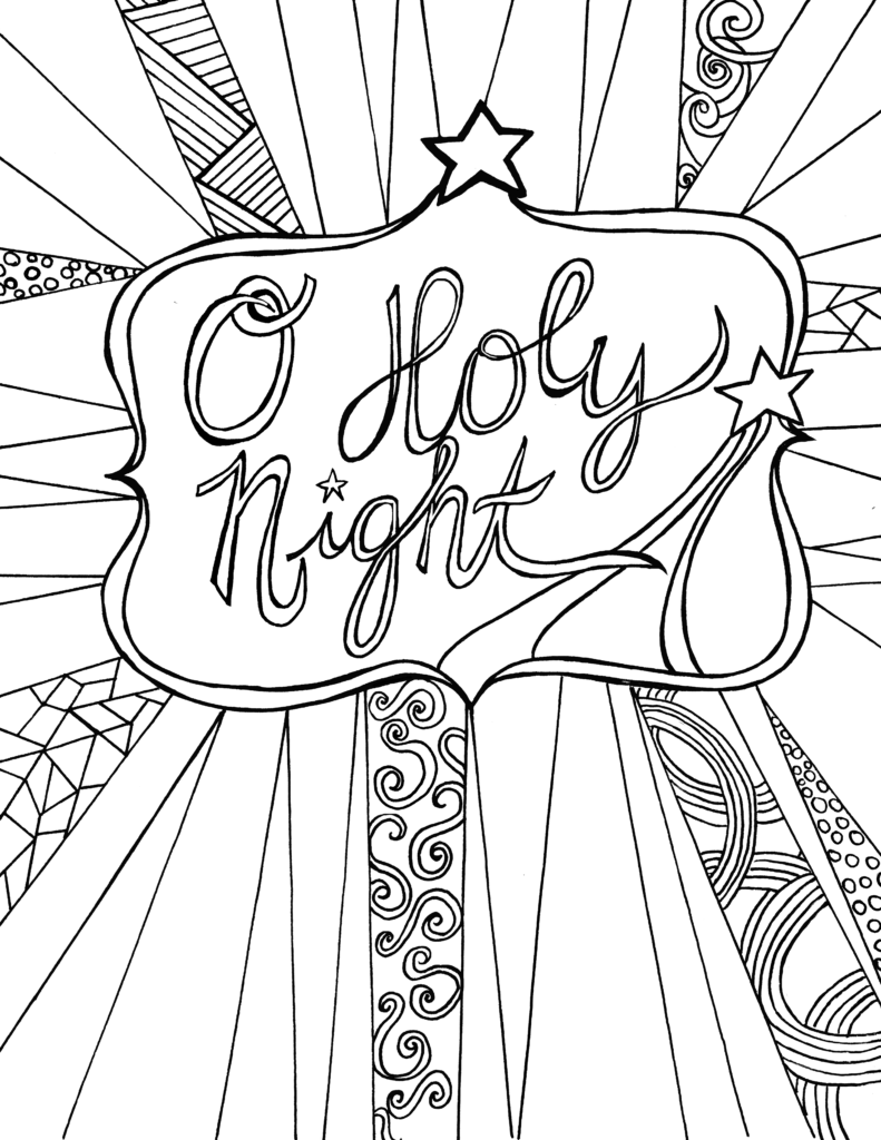 O holy night free adult coloring sheet printable for Adult christmas coloring pages