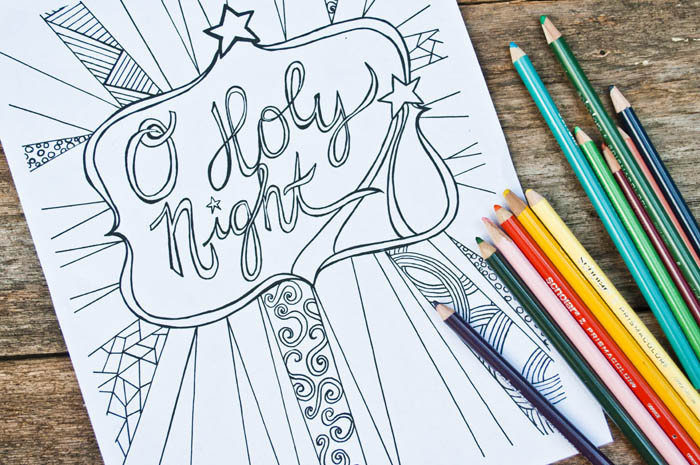 O Holy Night Free Adult Coloring Sheet Printable Clumsy