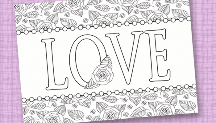 free printable adult coloring sheet for valentine's day