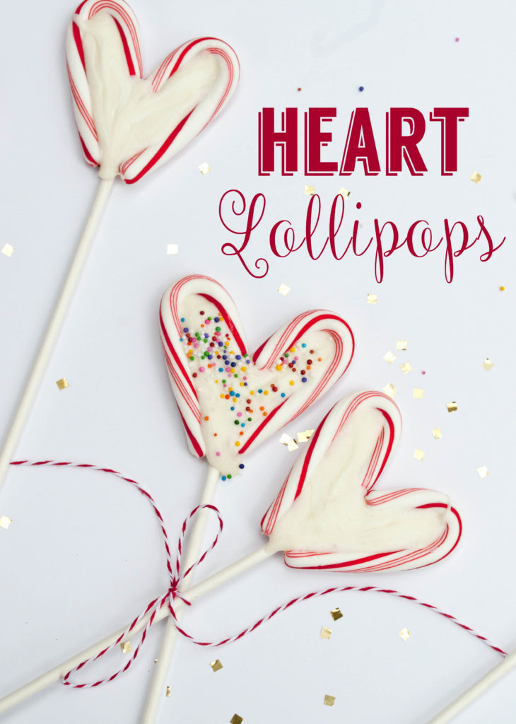 heart lollipops - easy and simple. Made with mini candy canes and melted white chocolate