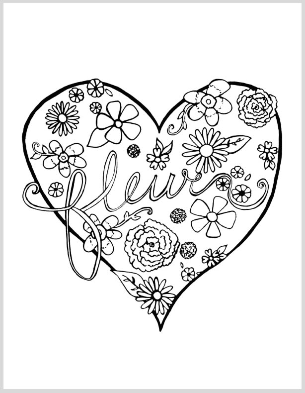 Free floral adult coloring page from Clumsy Crafter