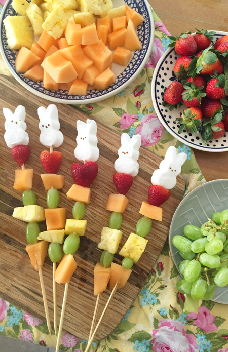 A cute and easy Easter treat - fruit skewers topped wit ha Bunny Peep
