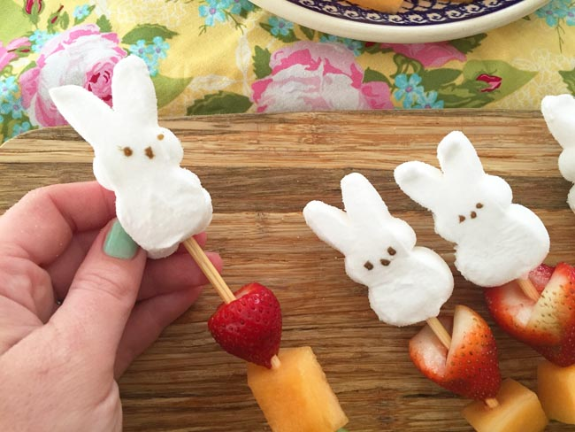 A cute easter treat - Peep Fruit Skewers