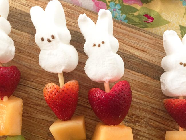 easter treat - heart shaped strawberries with peeps
