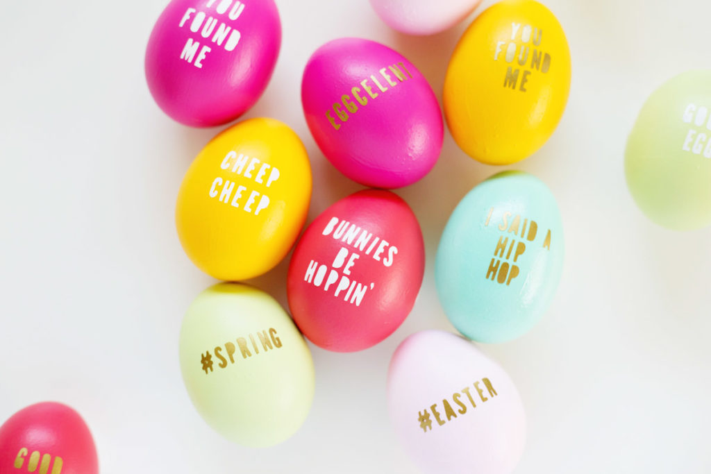 Typography eggs with fun Easter sayings.