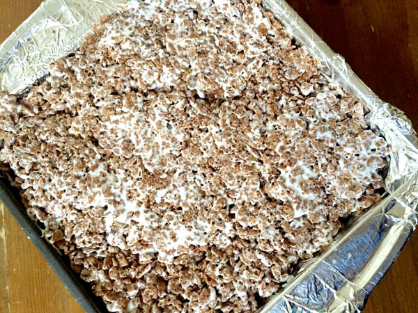 Cocoa Rice Krispies turned into smores rice crispy treats