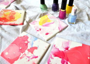 Watercolor Effect Tile Coasters – An Easy DIY With Nail Polish and Ceramic Tiles