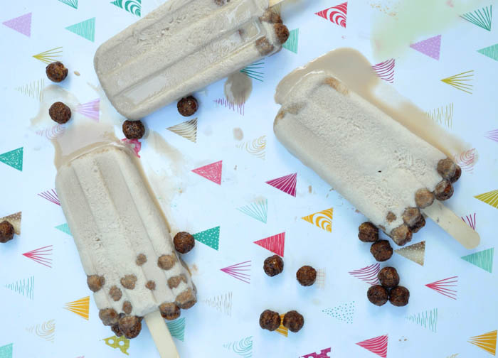 Popsicles made with cocoa puffs! Cereal milk popsicles