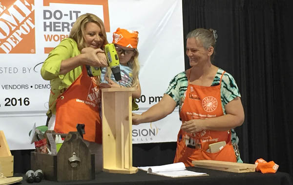 delilah leading a Do-it-Herself Workshop at The Home Depot