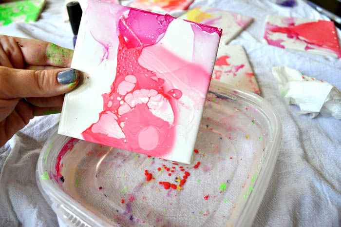 Watercolor Effect Tile Coasters An Easy Diy With Nail Polish And Ceramic Tiles Clumsy Crafter