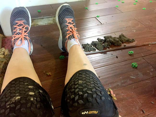 diy tile floors with kneepads