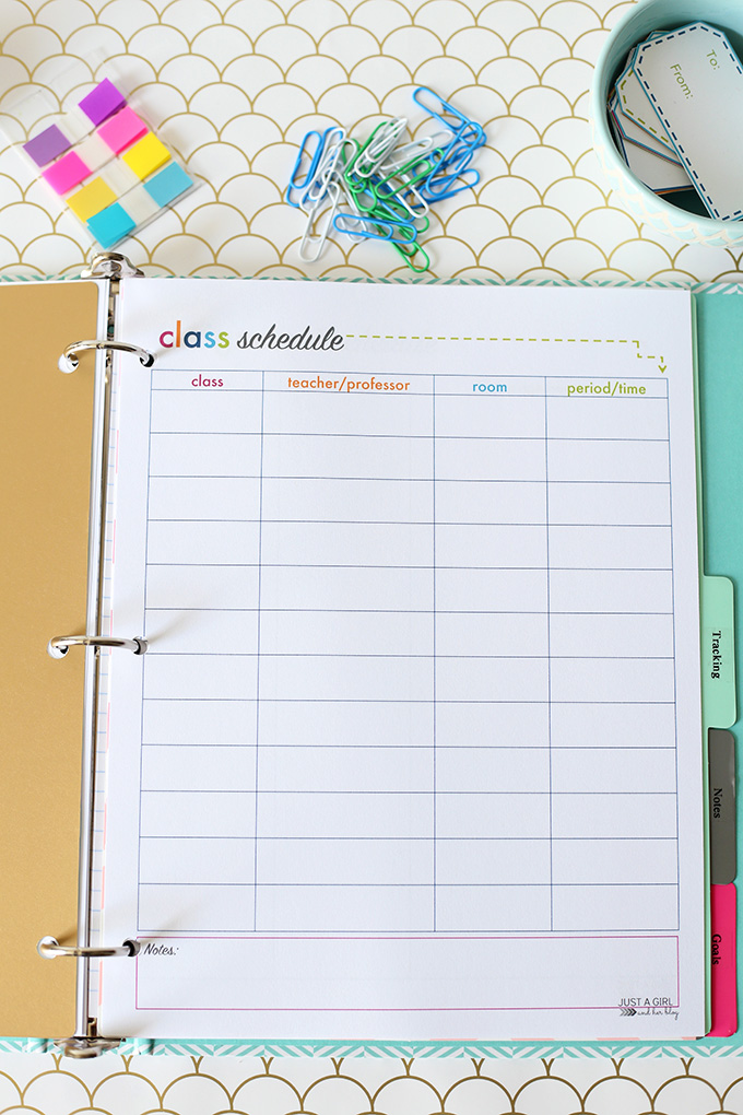 Free Student Binder Printable from A Girl and Her Blog