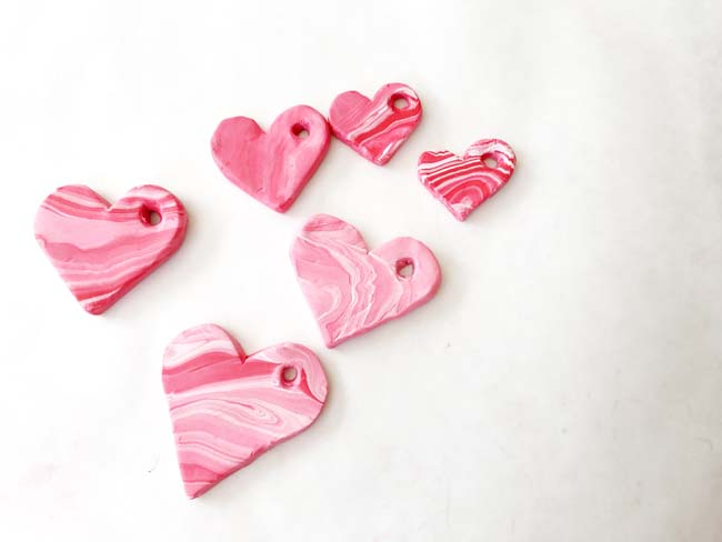 Polymer clay heart pendants for valentines day