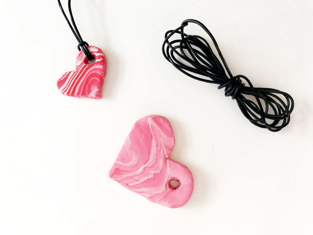 how to maky polymer clay heart pendants for valentines day