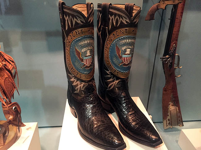 Lyndon B Johnson Presidential Library boots with seal
