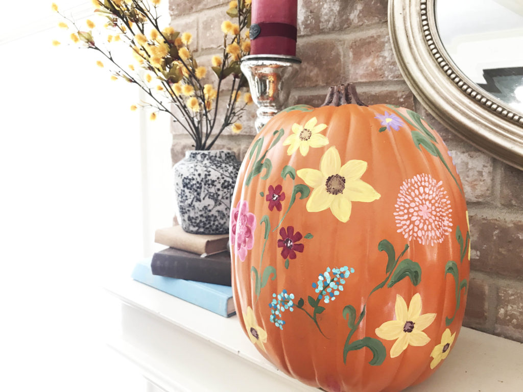 Pioneer Woman Inspired Wildflower Painted pumpkin
