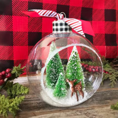 Easy Handmade Ornament – Bottle Brush Tree Diorama