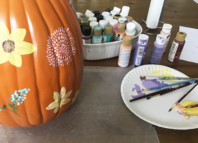 painted wildflower pumpkin