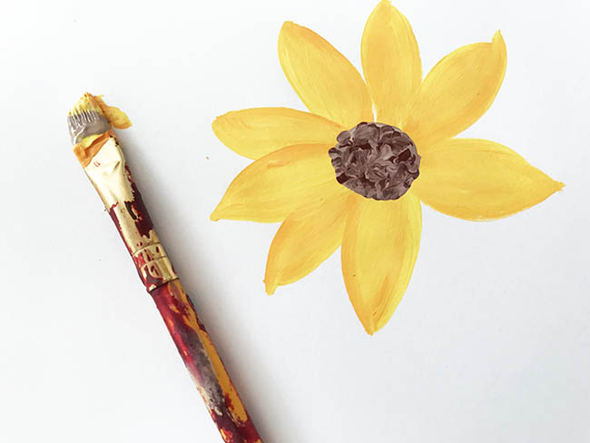 painting sunflowers step by step