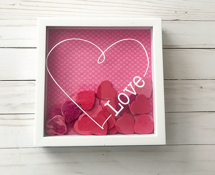 Valentines day shadow box heart - DIY home decor easy valentine decoration with free love cut file