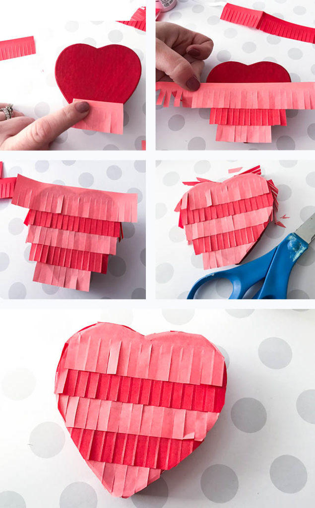 pinata style heart treat box - perfect craft for Valentine's Day