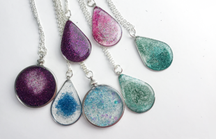 Floating Glitter Necklace  Using Resin – Part 2 – Details on How to Make Each Look