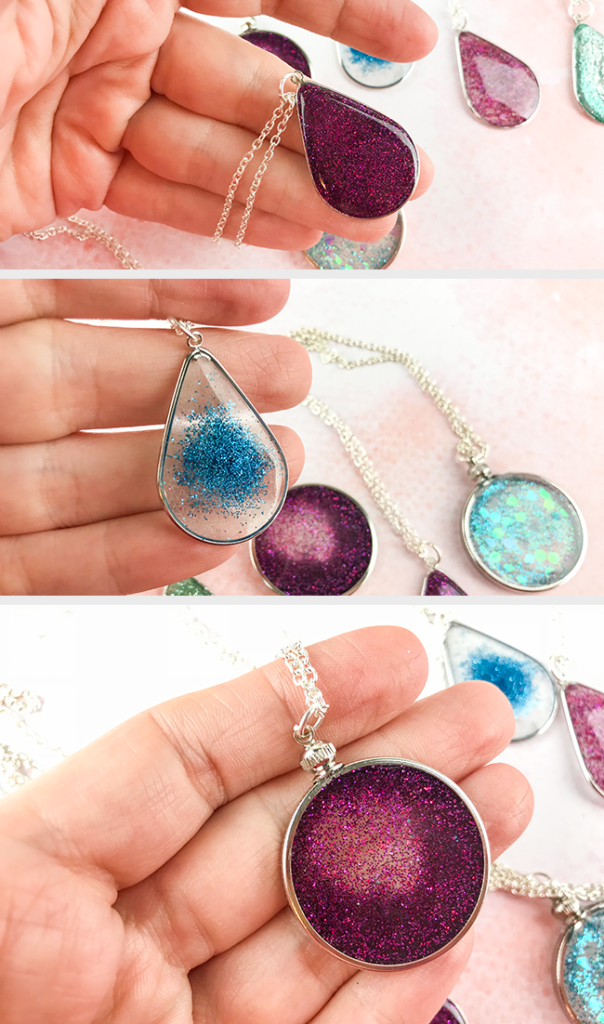 Floating Glitter Necklaces - 3 Easy to make styles! Full tutorial