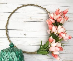 A Modern Take on a Traditional Wreath: The Macrame Wrapped Tulip Hoop Wreath