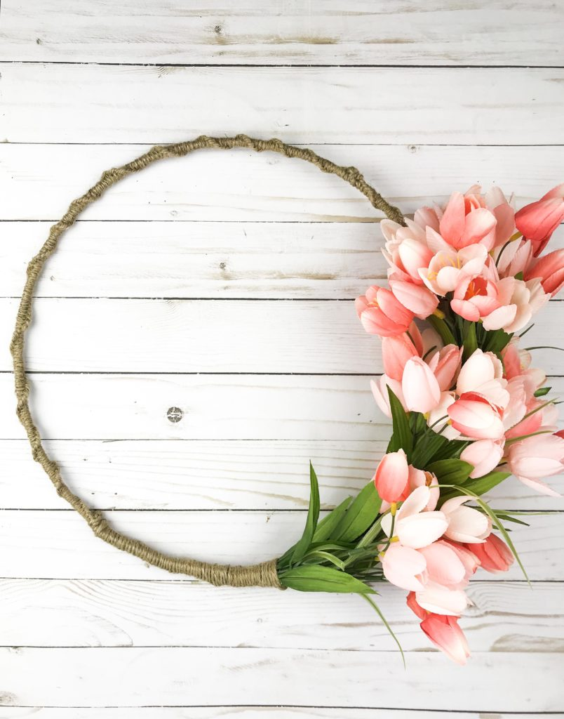 make a tulip wreath - spring or easter wreath