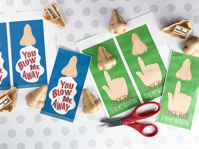 Nose Pencil Sharpener Valentine - I Pick You or You Blow Me Away - Free Printable