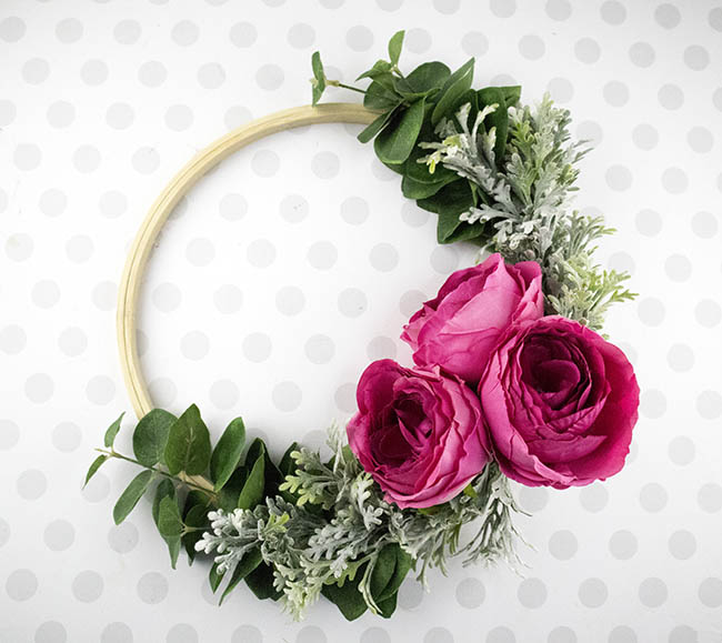DIY Hoop Wreath with roses