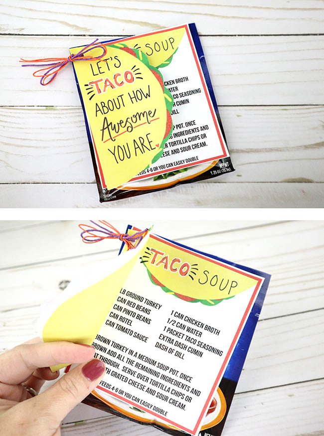 Let's Taco About How Awesome You Are Free Printable! Cute appreciation gift, teacher gift idea or just as a little thank you note!