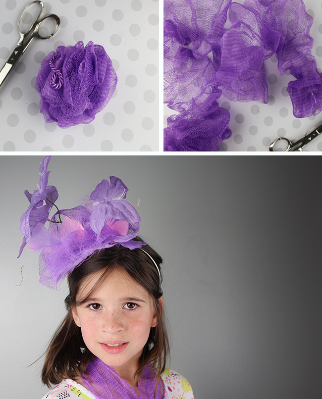 DIY Fascinator using a loofah and other supplies from the dollar store