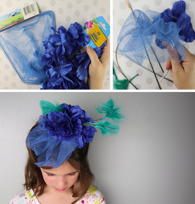 DIY fascinator for the royal wedding or a tea party using supplies from the dollar tree