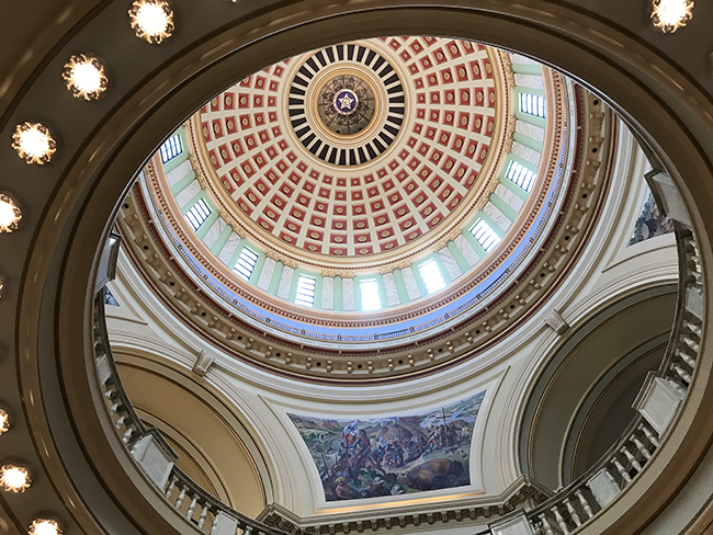 The dome inside Oklahoma State Capitol building