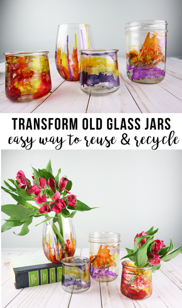 recycling craft with gorgeous results! Reuse those old glass jars with one simple addition