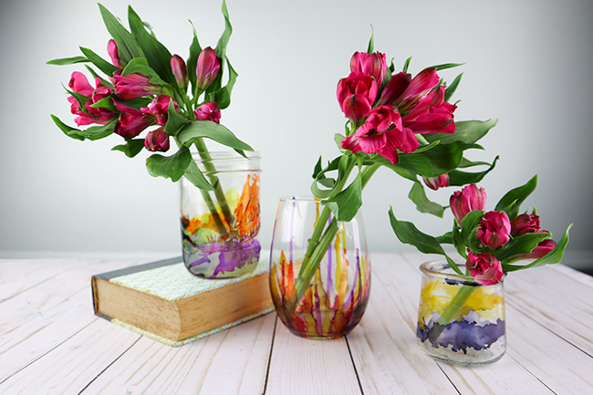 Recycling Glass Jars Using Alcohol Inks Great Recycling Craft