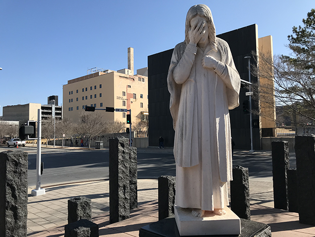 The Weeping Jesus Statue Across The Street From The Oklahoma City National Memorial