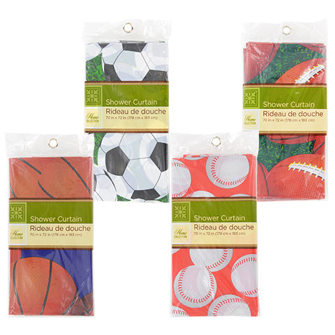 Sports Themed Shower Curtains From The Dollar Tree