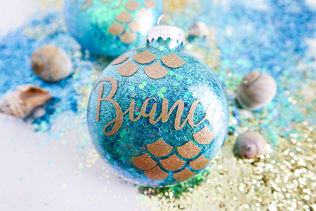 mermaid glitter christmas ornaments