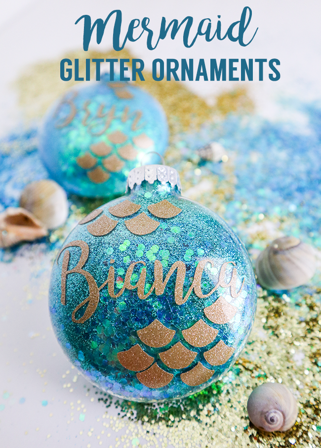 Make your own mermaid glitter ornaments! Fun for Christmas ornaments or as a baby shower gift