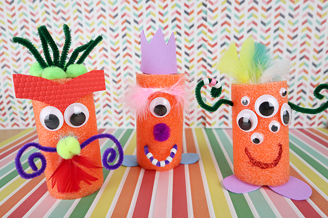 Fun Kid's Craft Idea! Pool Noodle Monsters using supplies from the Dollar Store