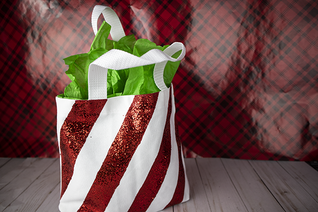 DIY Gift Bag with a fun candy cane stripe